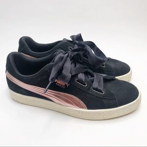 Puma Black Suede Rose Gold with Ribbon Laces